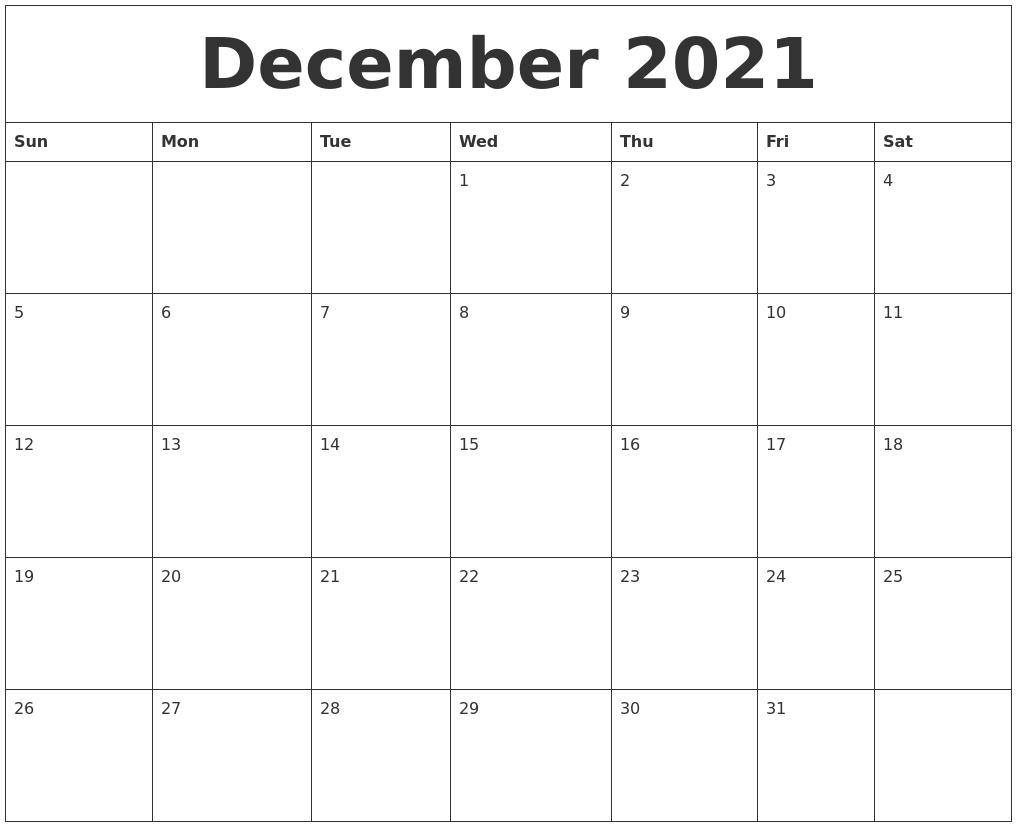 December 2021 Free Printable Monthly Calendar