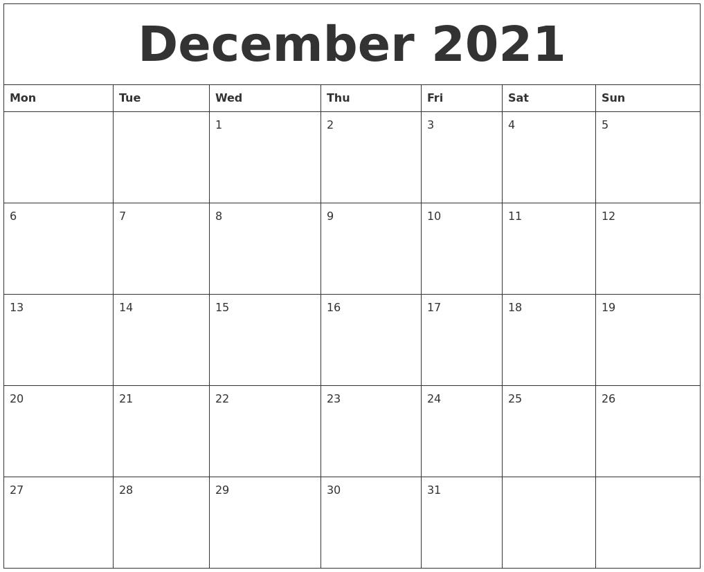 December 2021 Large Printable Calendar