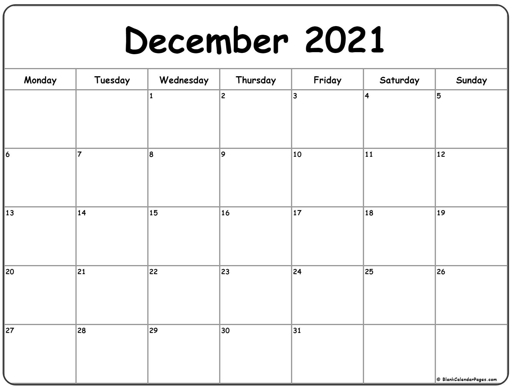 December 2021 Monday Calendar | Monday To Sunday