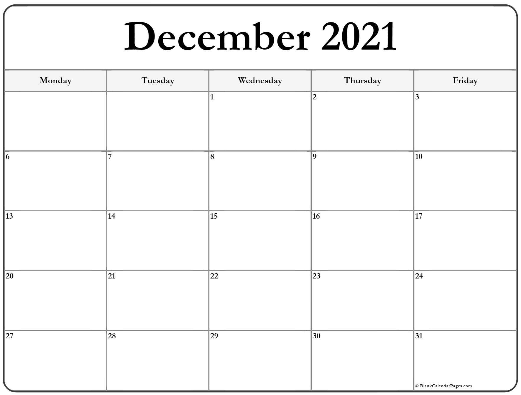 December 2021 Monday Calendar   Monday To Sunday