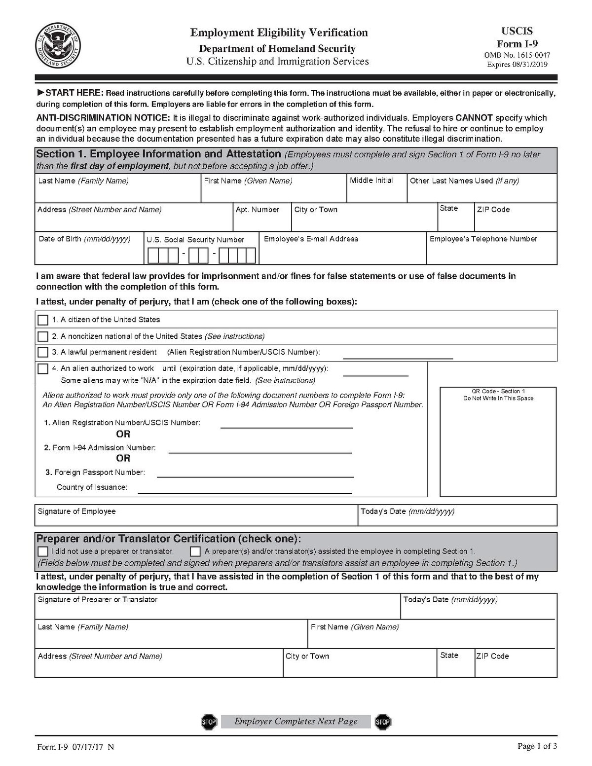 Department Of Homeland Security Form I-9 | I9 Form Printable