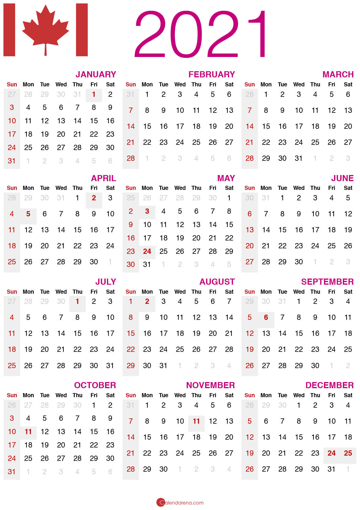 Download Free 🇨🇦 2021 Calendar Canada 🇨🇦 - Calendarena