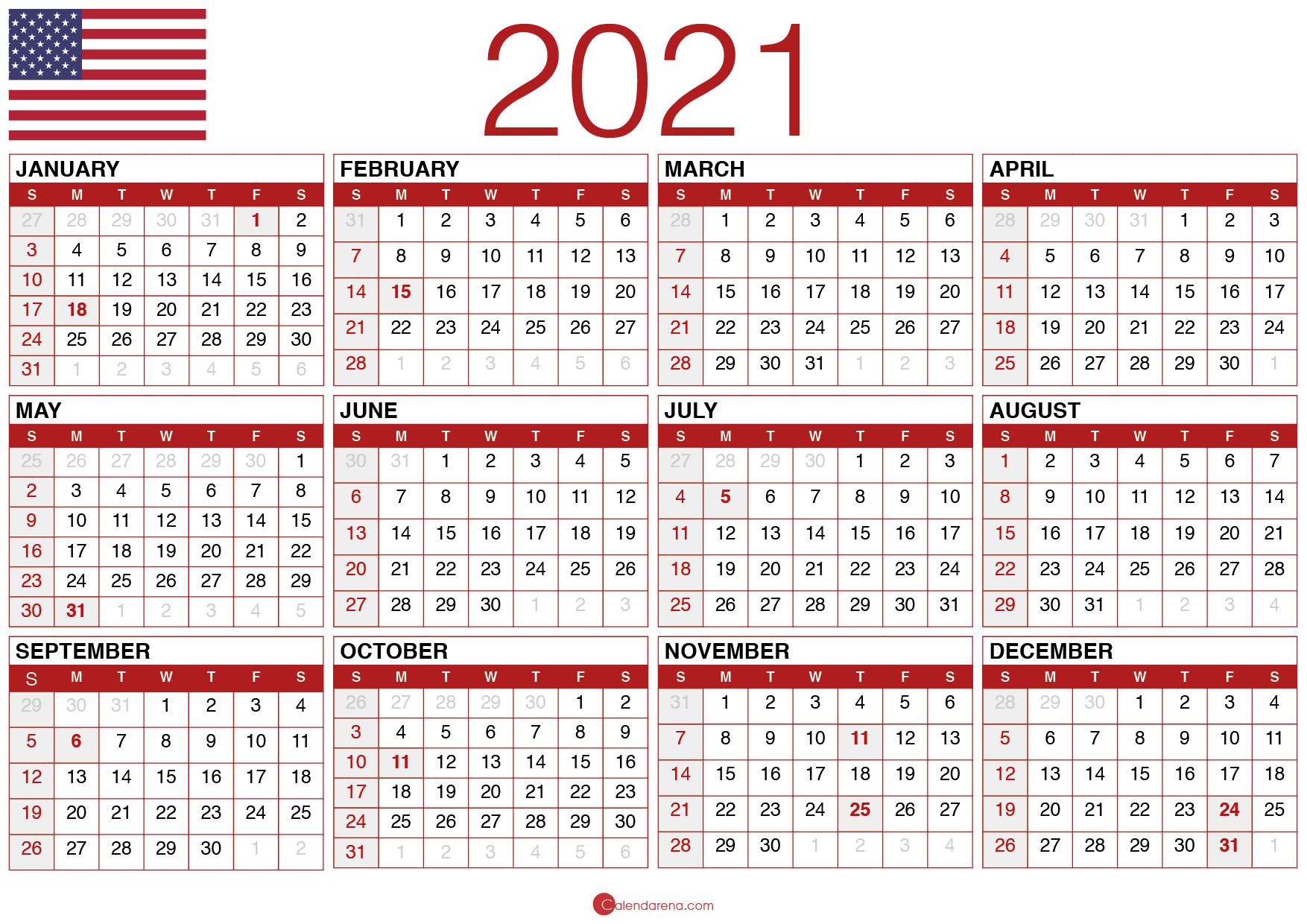 Download Free Printable Calendar 2021 - Calendarena