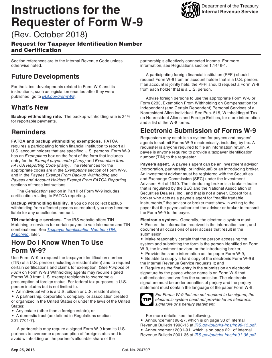 Download Instructions For Irs Form W-9 Request For Taxpayer