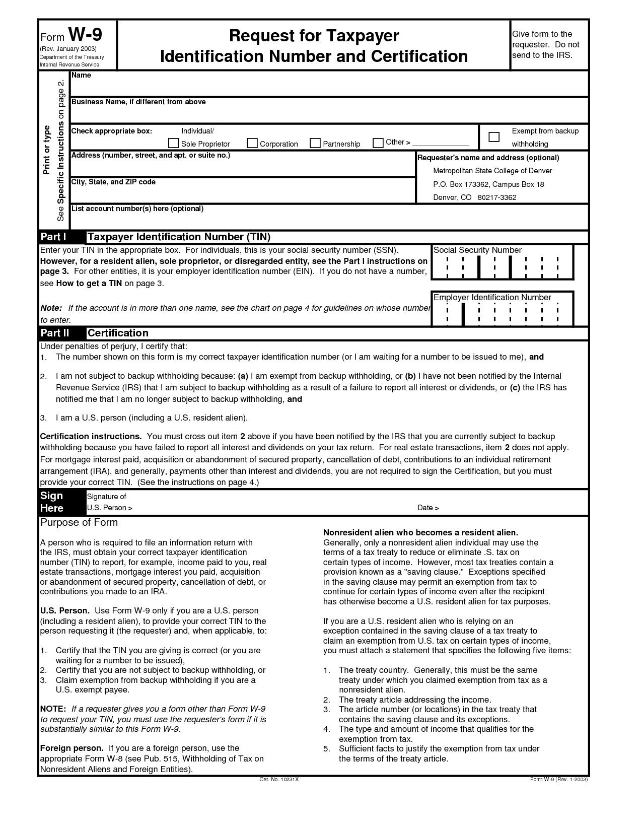 Downloadable Form W 9 Printable W9 Printable Pages