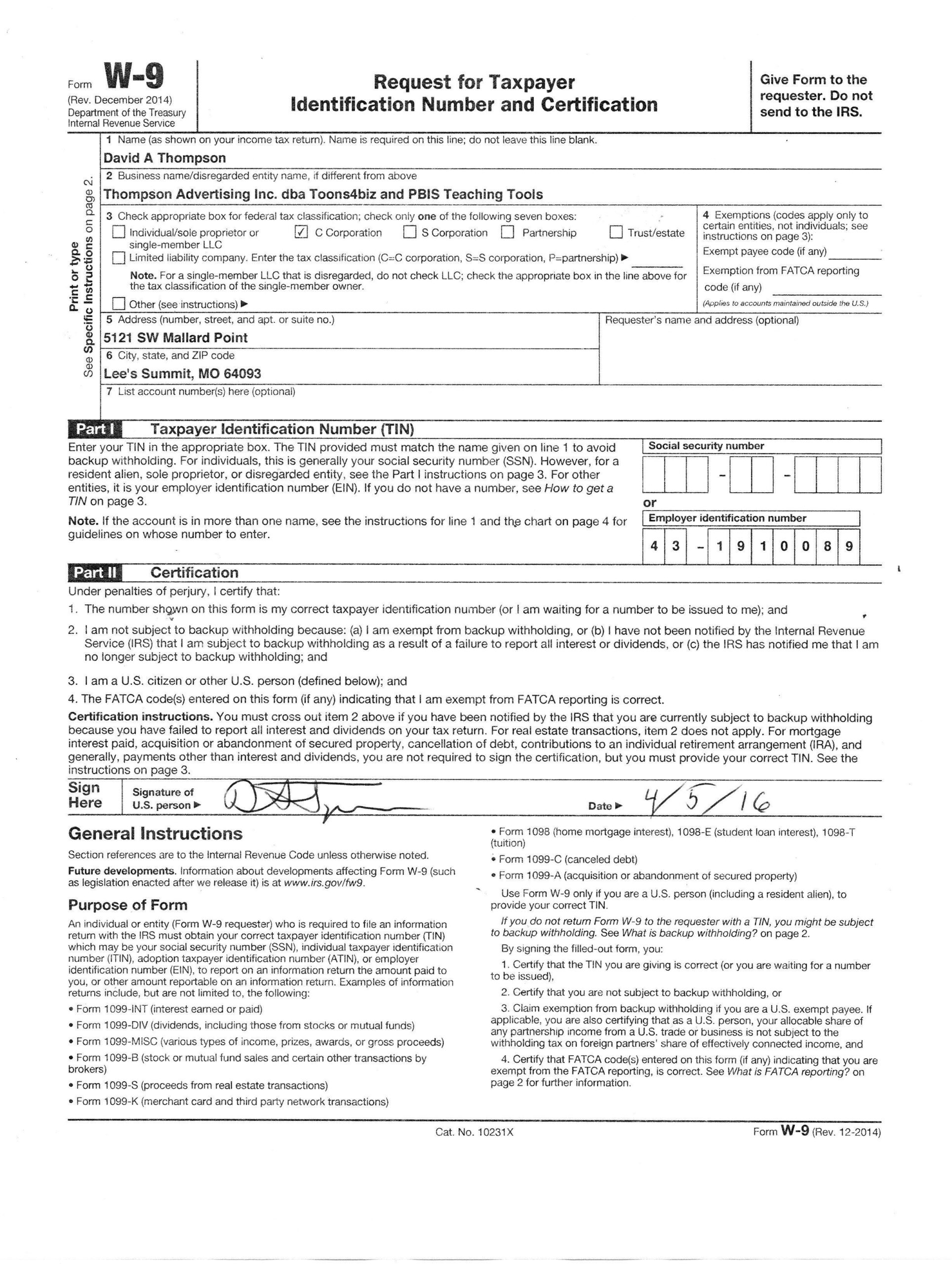 Downloadable W 9 Form W9 Form Mascot Junction | Doctors Note