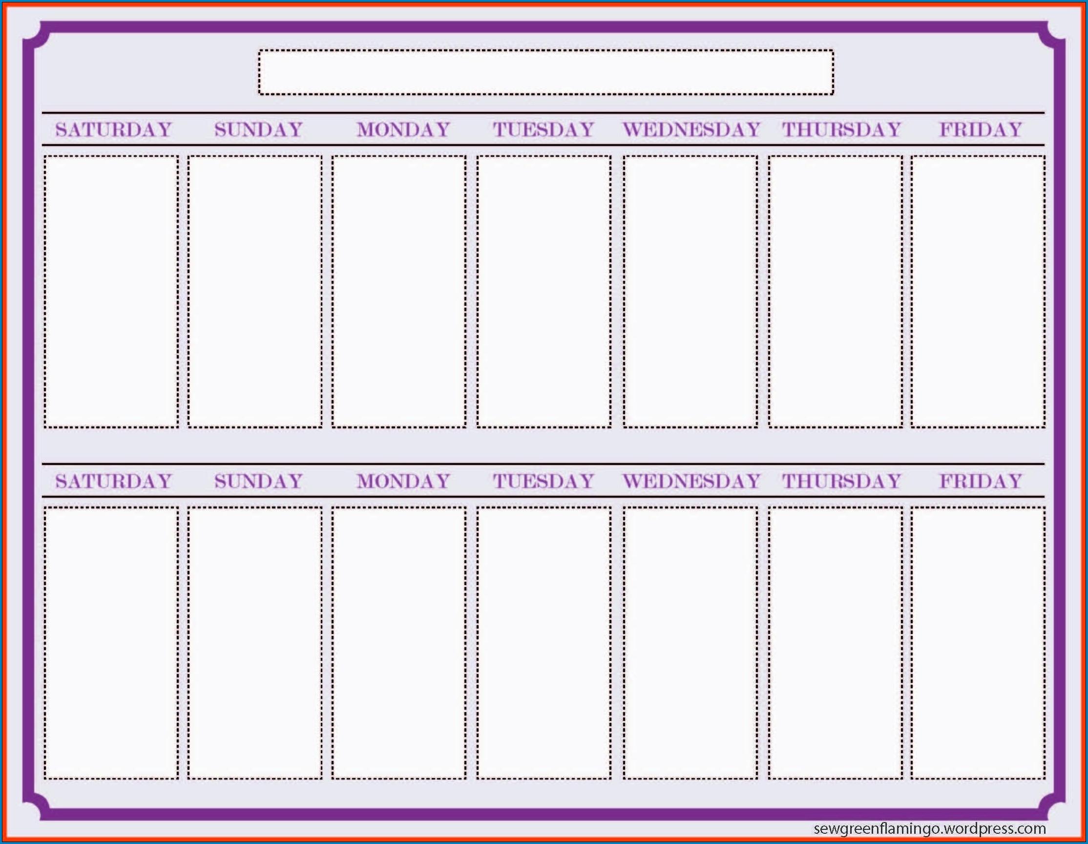 √ Free Printable 2 Week Calendar Template   Templateral