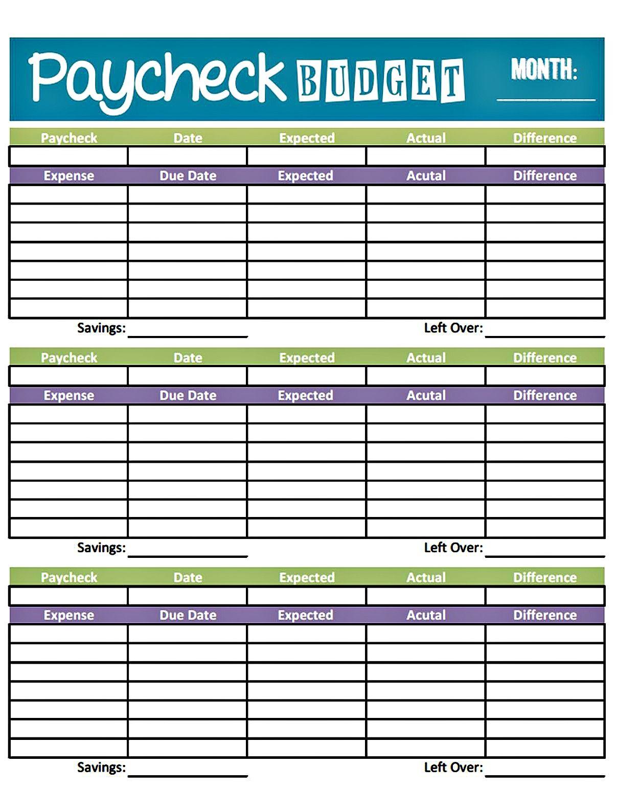 Easy Printable Budget Worksheet | Get Paid Weekly And
