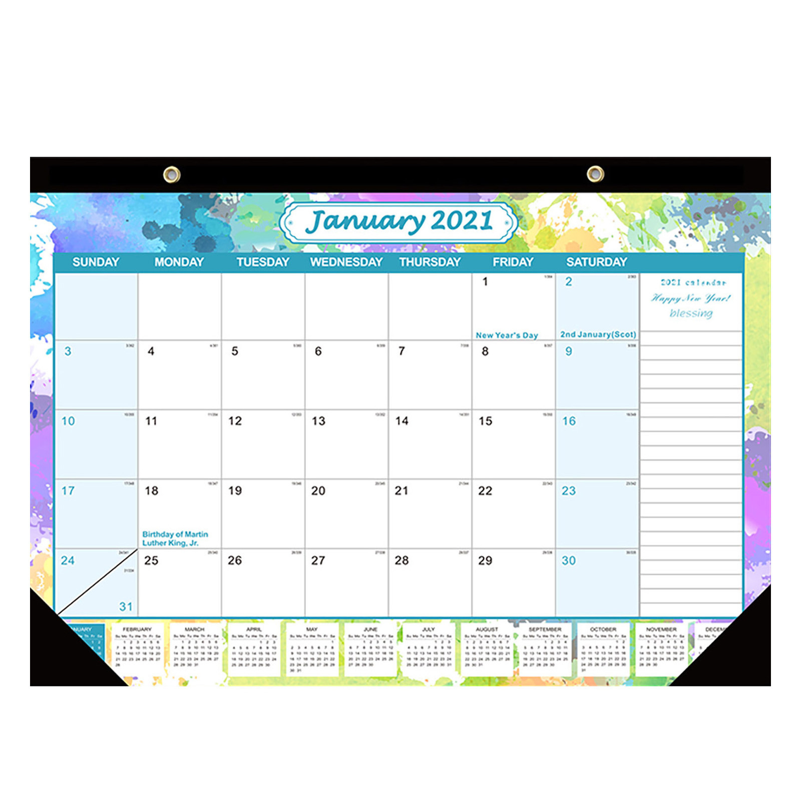 Egmy Desk Calendar Notes And Julian Date Jan 2021 Thick Paper With Colorful  - Walmart