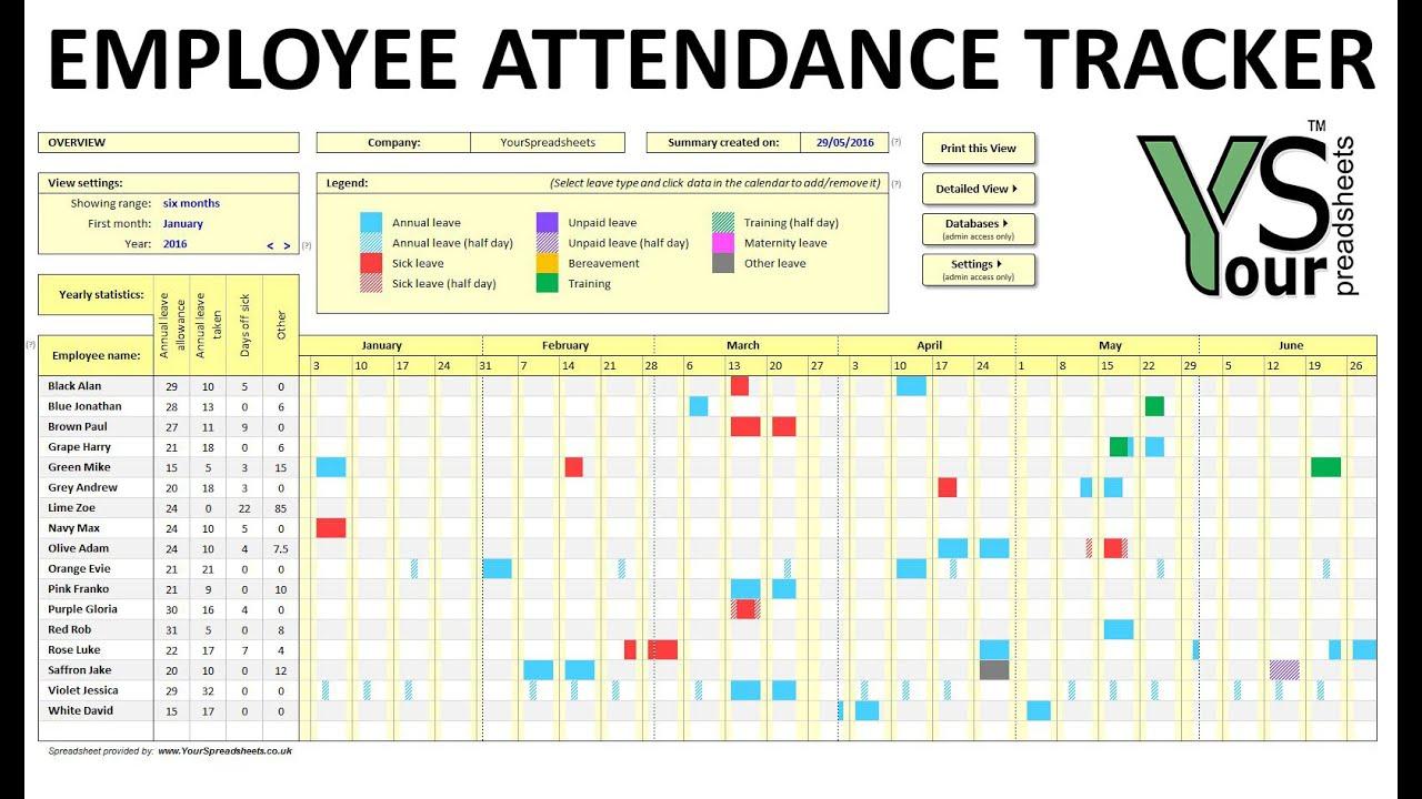 Employee Attendance Tracker Spreadsheet