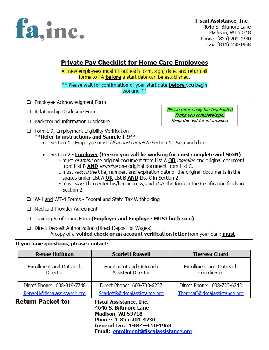 Employer Agent Forms | Fiscal Assistance