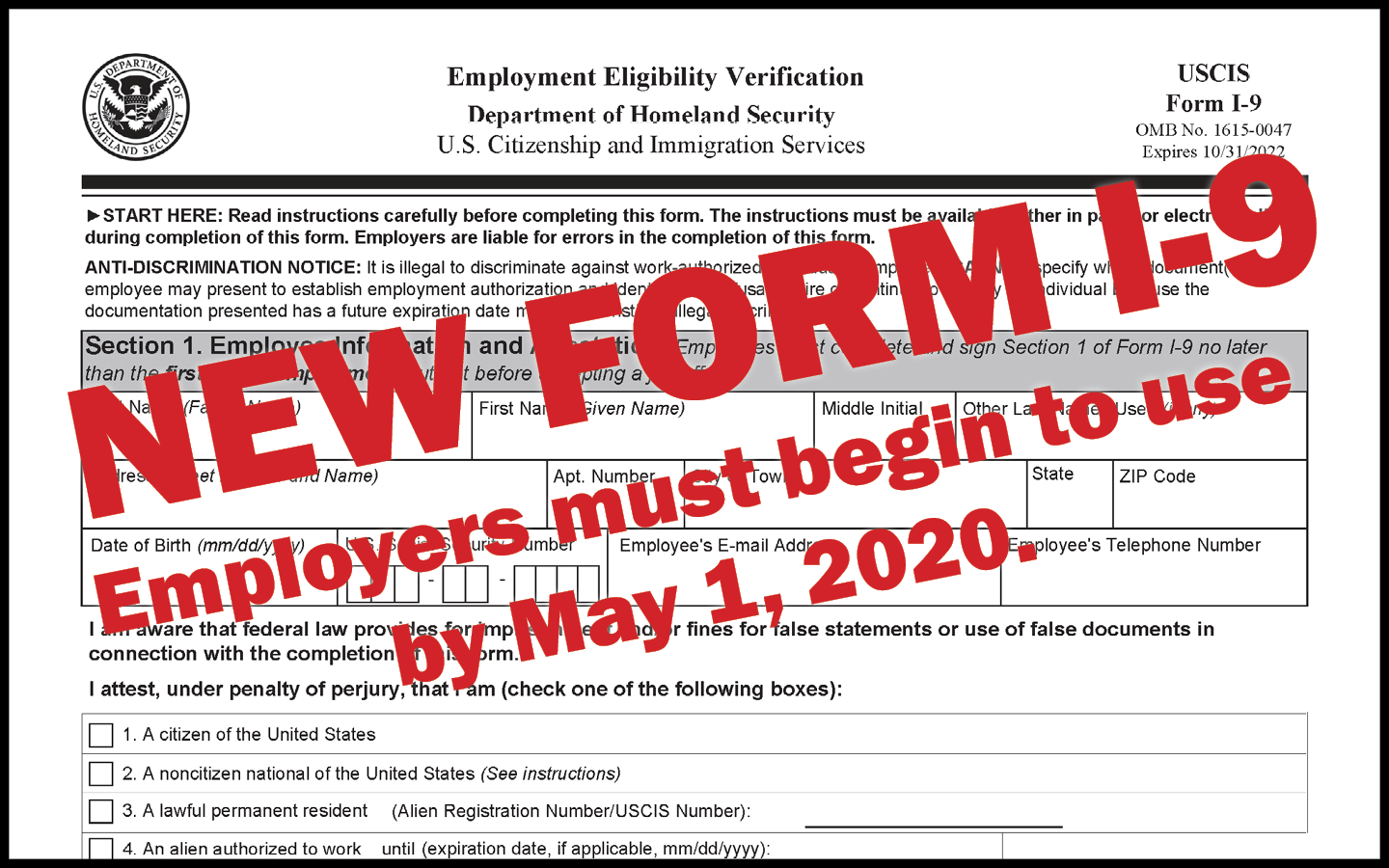 Employers Must Begin Using New Form I-9May 1 - Colorado