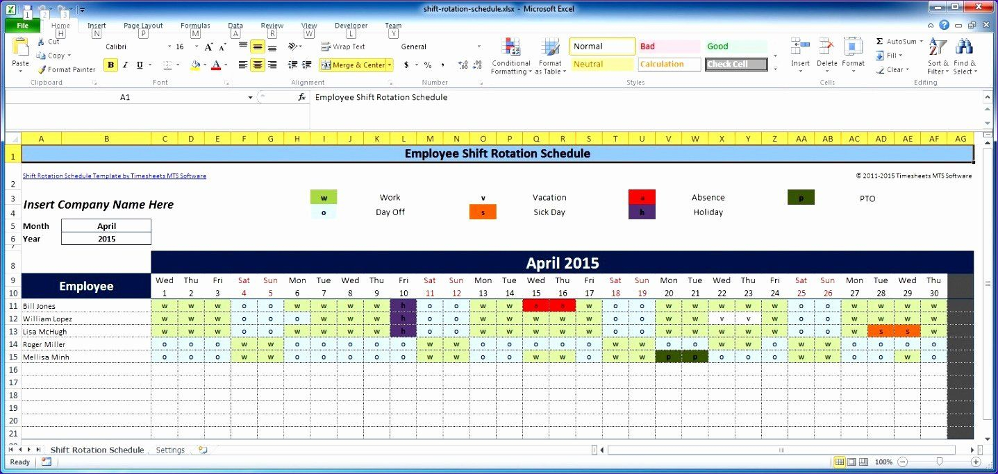 Excel Employee Shift Schedule Template Luxury 7 Free Excel