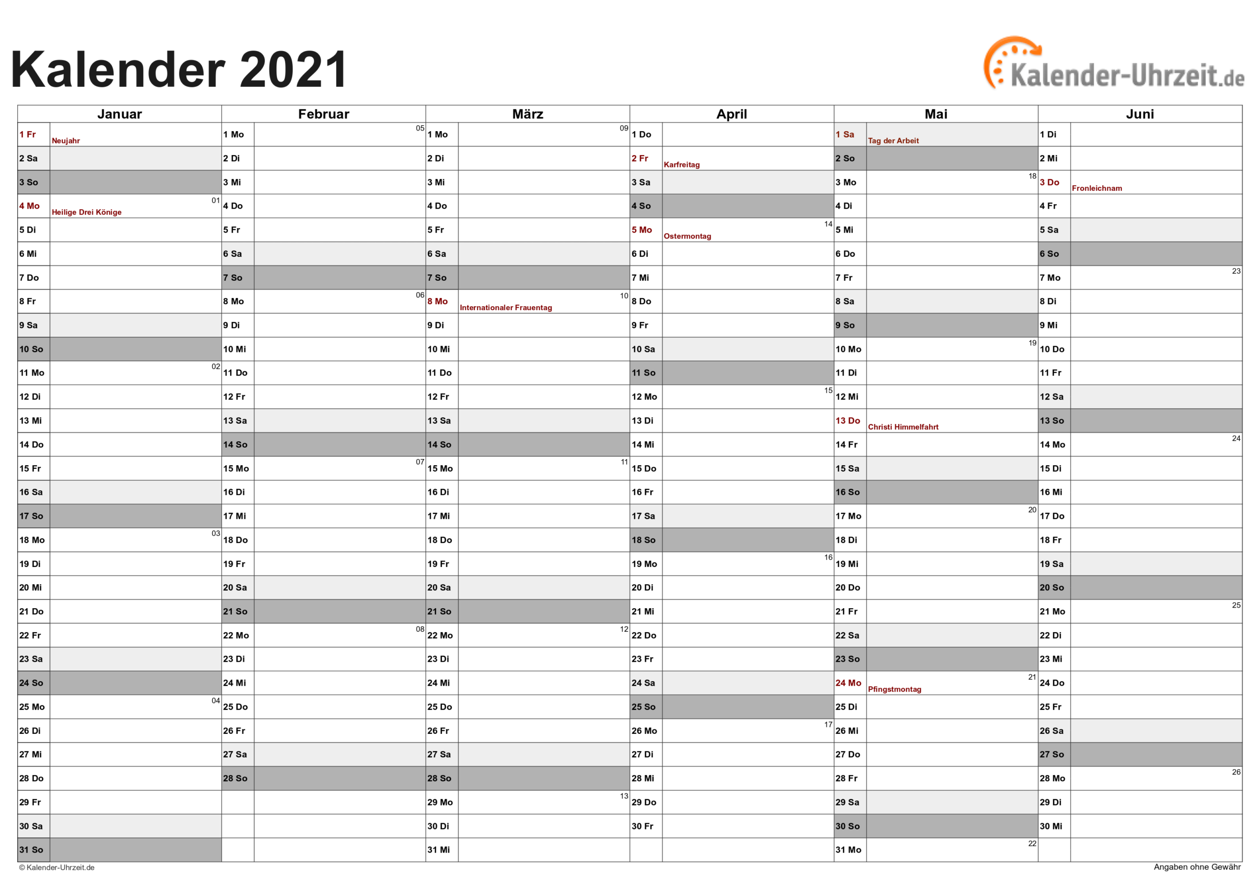 Excel-Kalender 2021 - Kostenlos