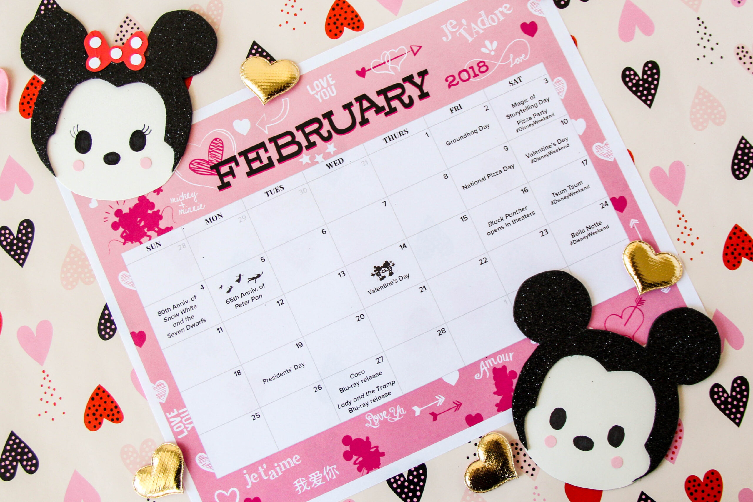 February Calendar And Mickie & Minnie Coloring Page | Disney