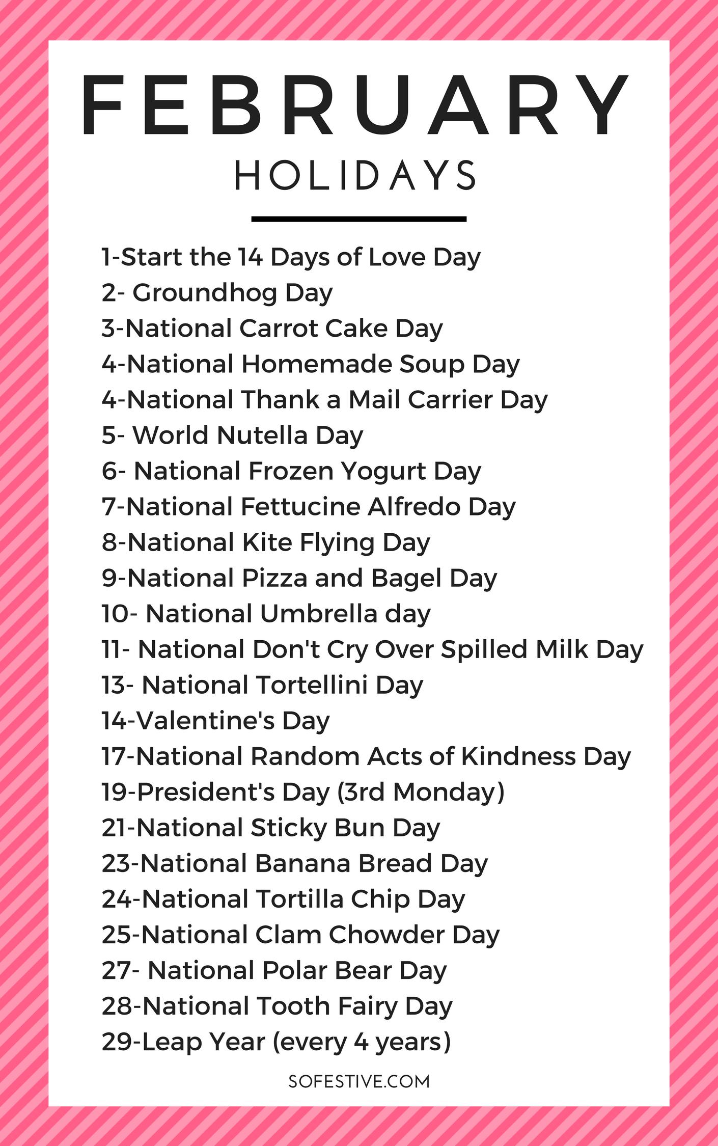 February Holidays 2021 (Random & Fun Holidays)- So Festive