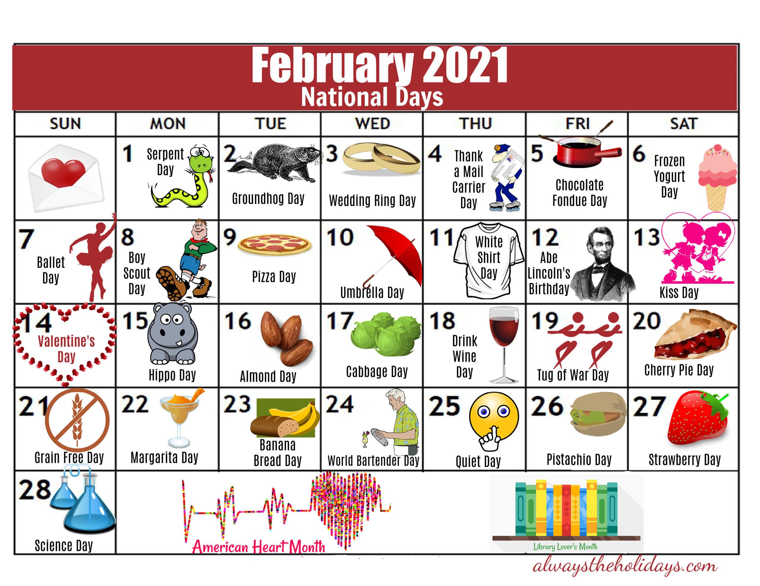 February National Day Calendar - 2021 Free Printable Calendars