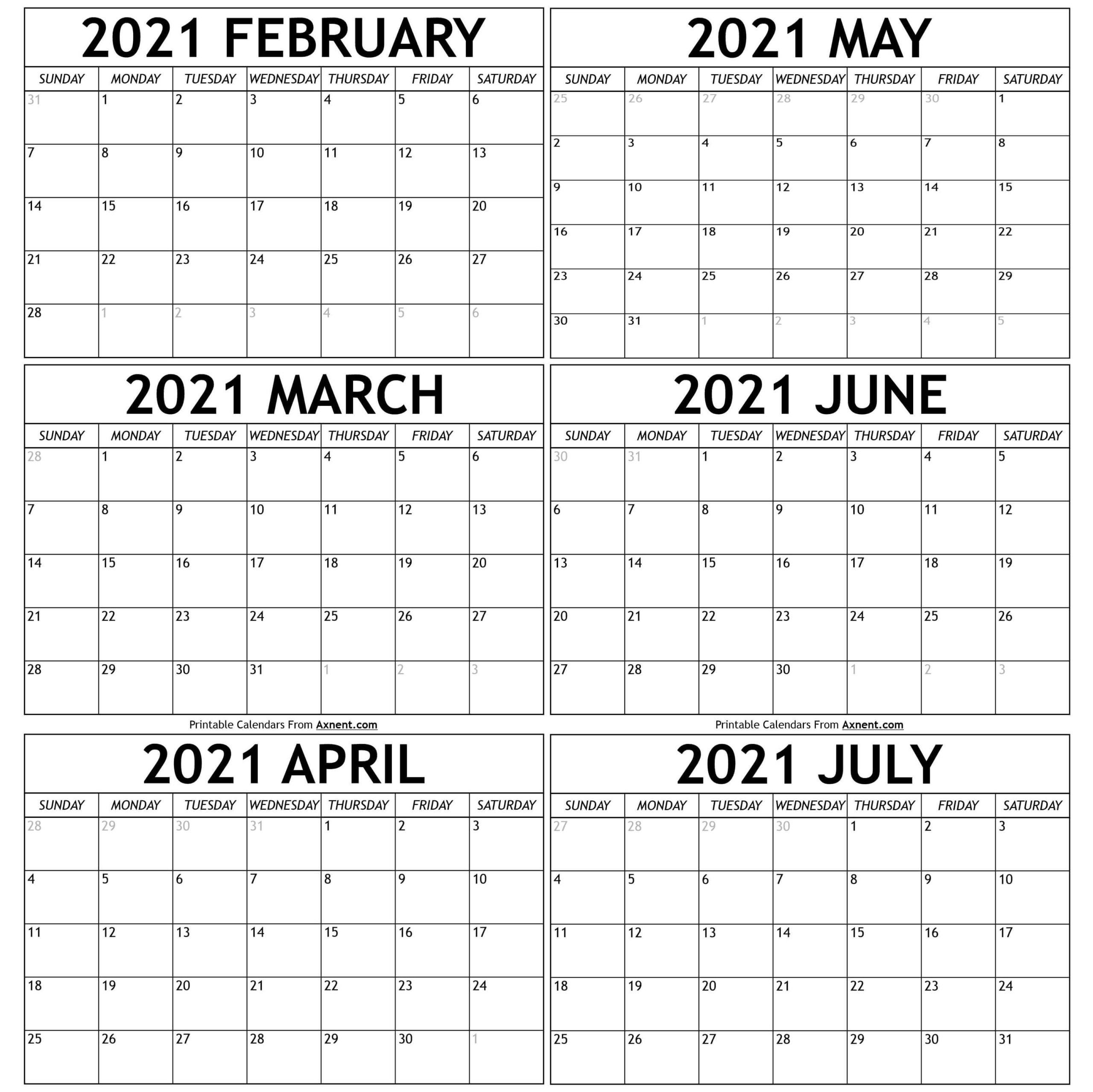 February To July 2021 Calendar Templates - Time Management
