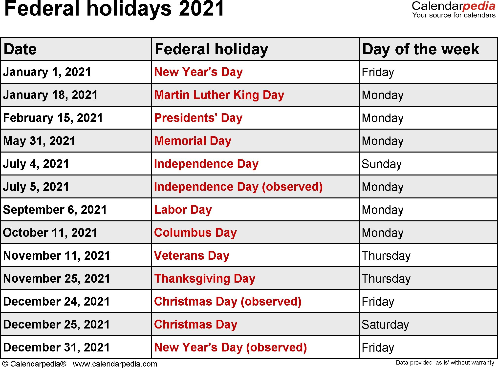 Federal Holidays 2021 Dowload | National Day Calendar
