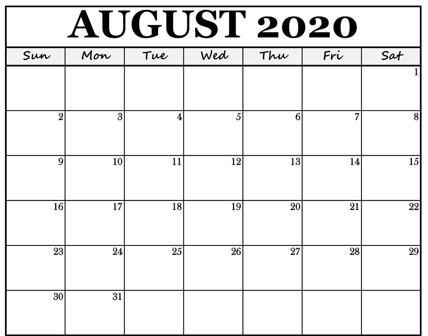 Fillable August 2020 Calendar | Fillable Calendar, Free