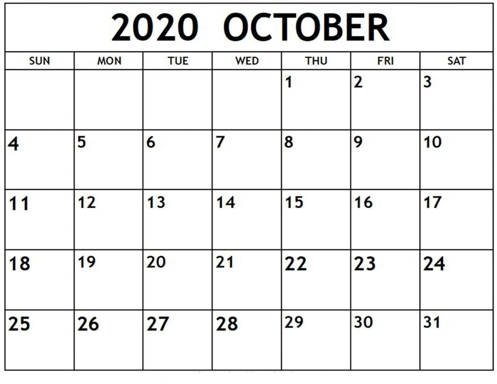 Fillable Calendar For October 2020 Excel | Free Printable