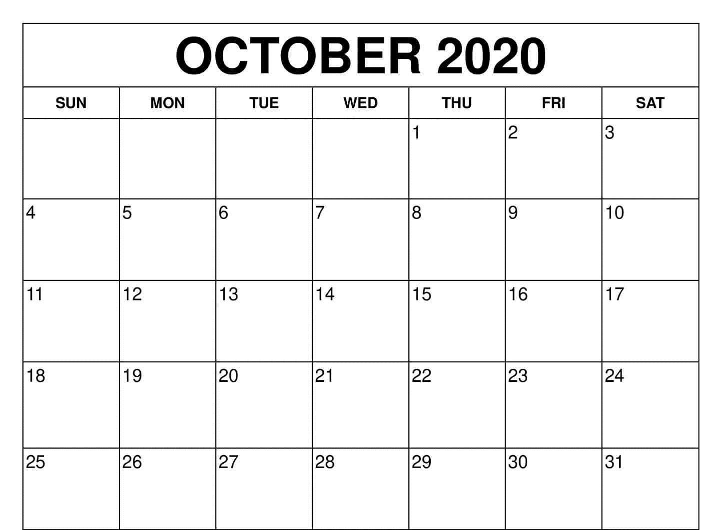 Fillable Calendar For October 2020 Printable Editable