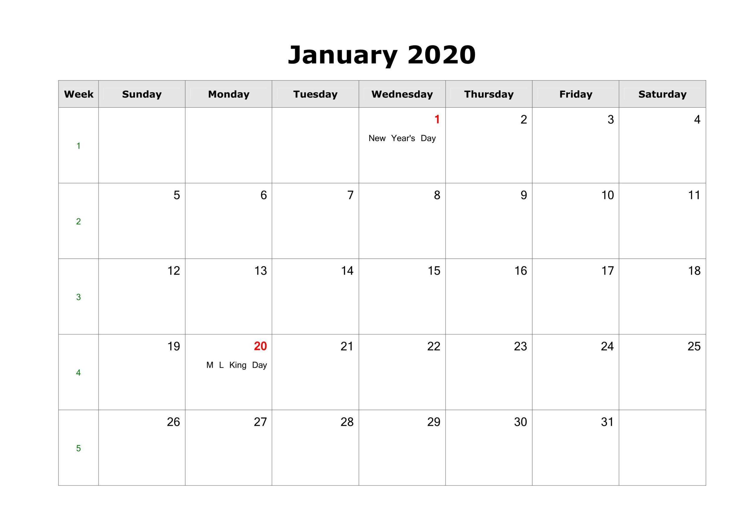 Fillable January Calendar 2020 Printable Editable With Notes
