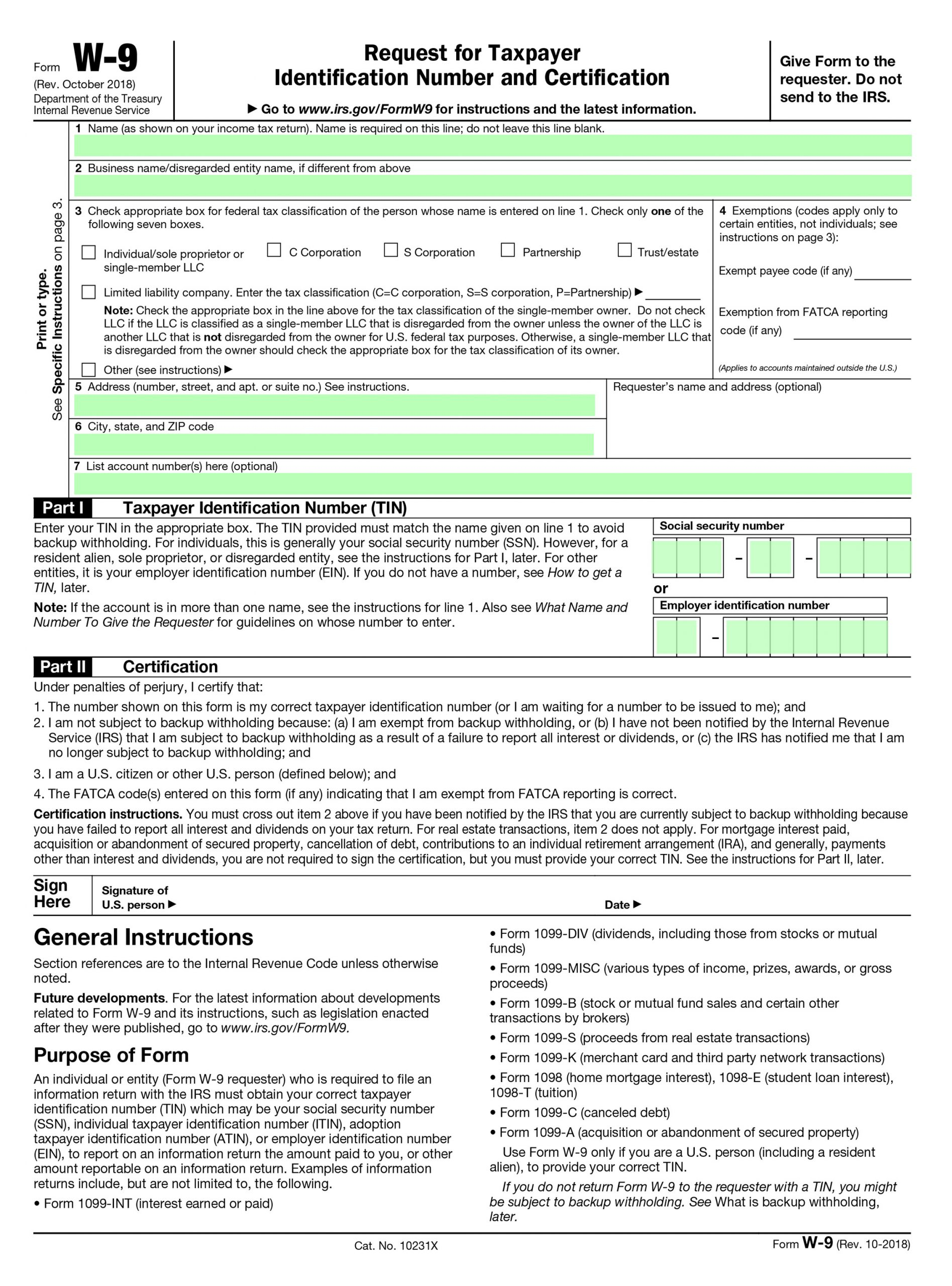 Filling Irs Form W-9 - Editable, Printable Blank | Fill Out