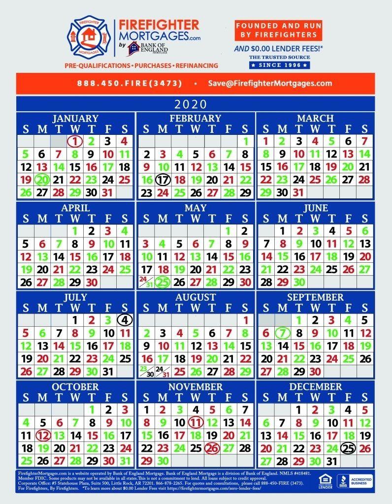 Fire Dept Shift Calendar 24/48   Marketing Calendar Template