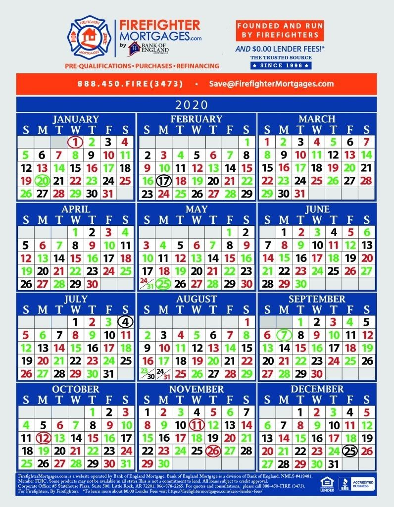 Fire Dept Shift Calendar 24/48 | Marketing Calendar Template
