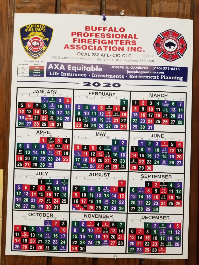 Firefighter Shift Schedule 2020 – Buffalo Firefighters