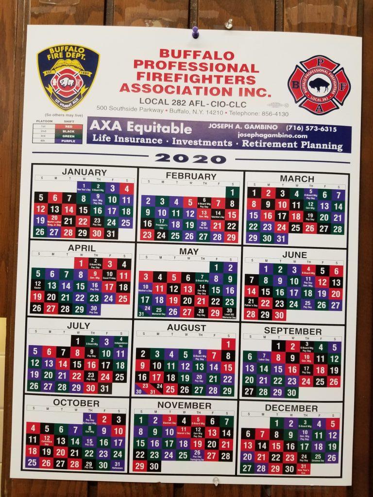 Firefighter Shift Schedule 2020 – Buffalo Firefighters
