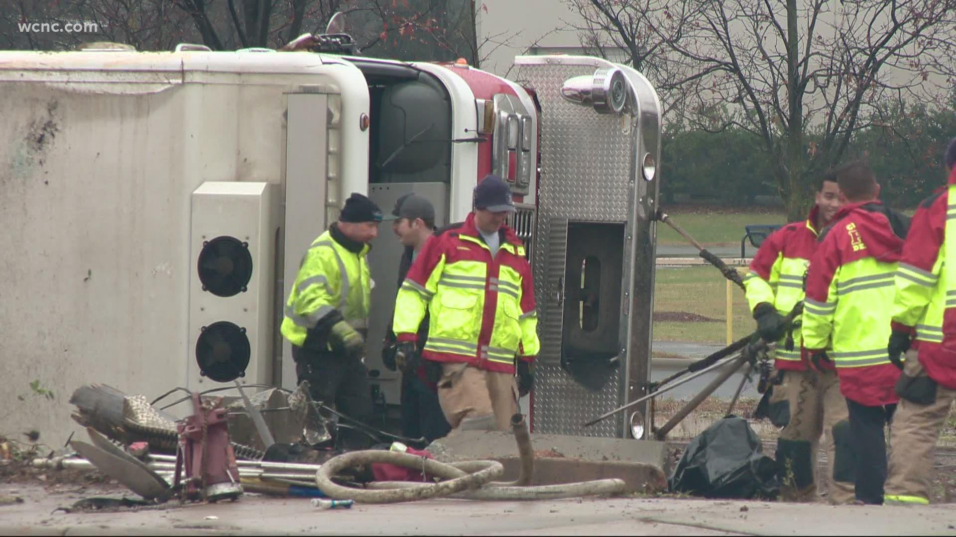 Fireman Taken To The Hospital After Firetruck Rolls Over