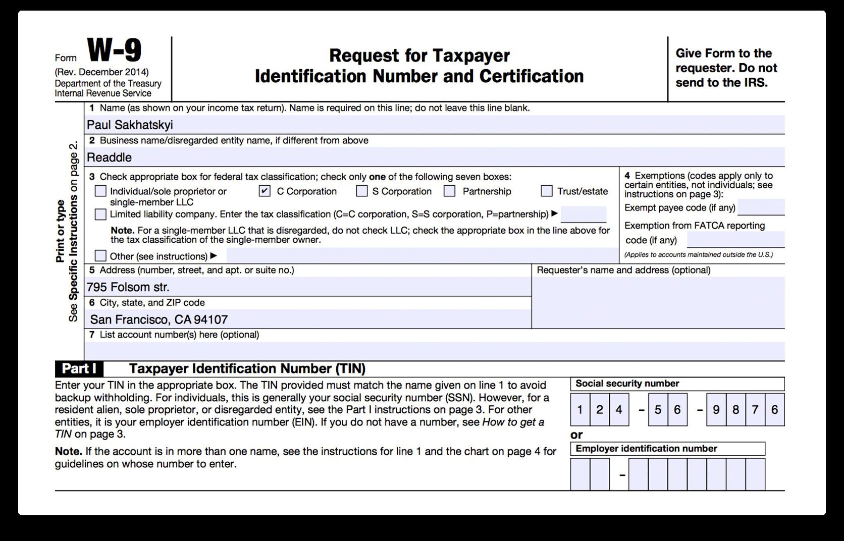 Form W 9 Fillable How To Fill Out Irs Form W 9 2017 2018