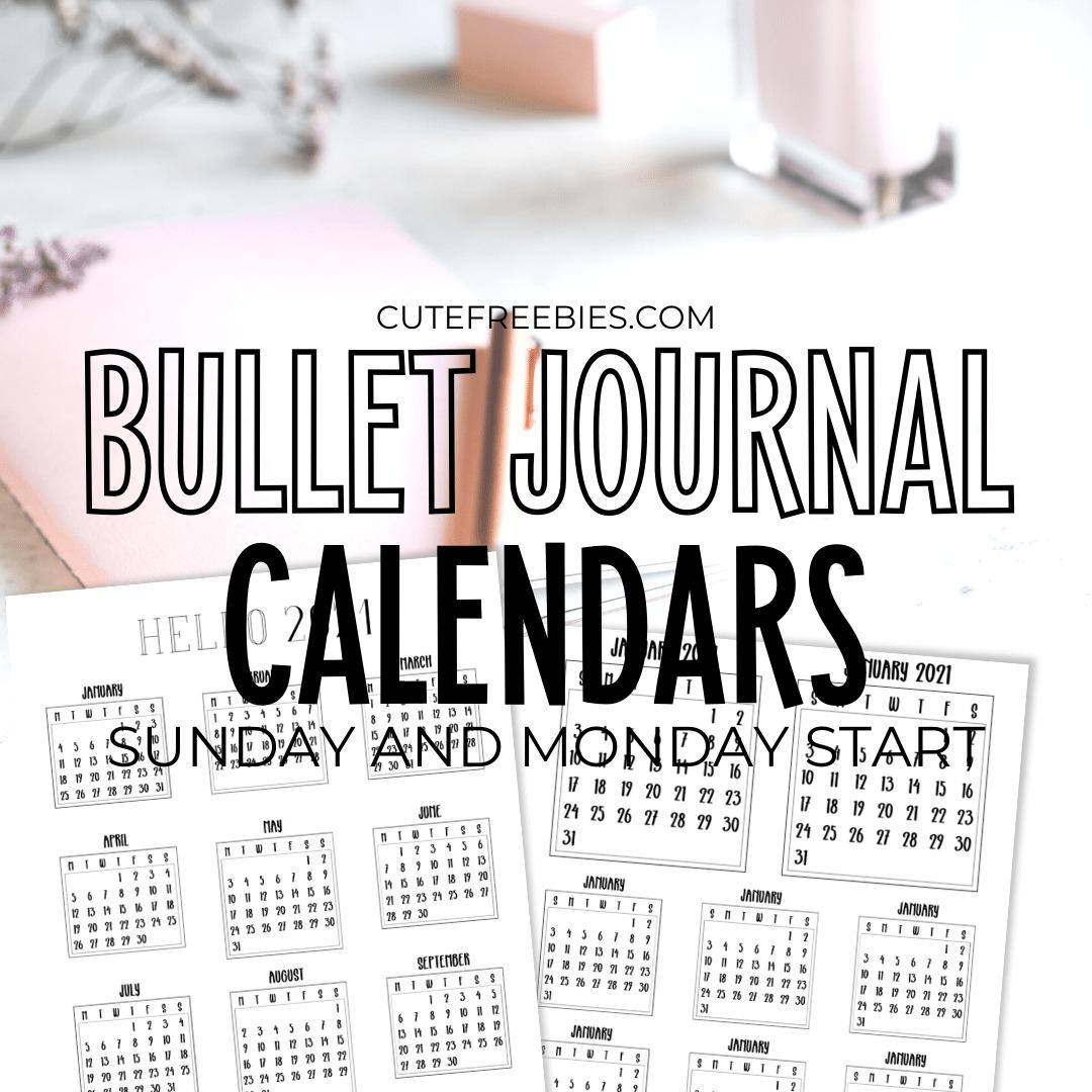 Free 2021 Bullet Journal Calendar Printable Stickers - Cute