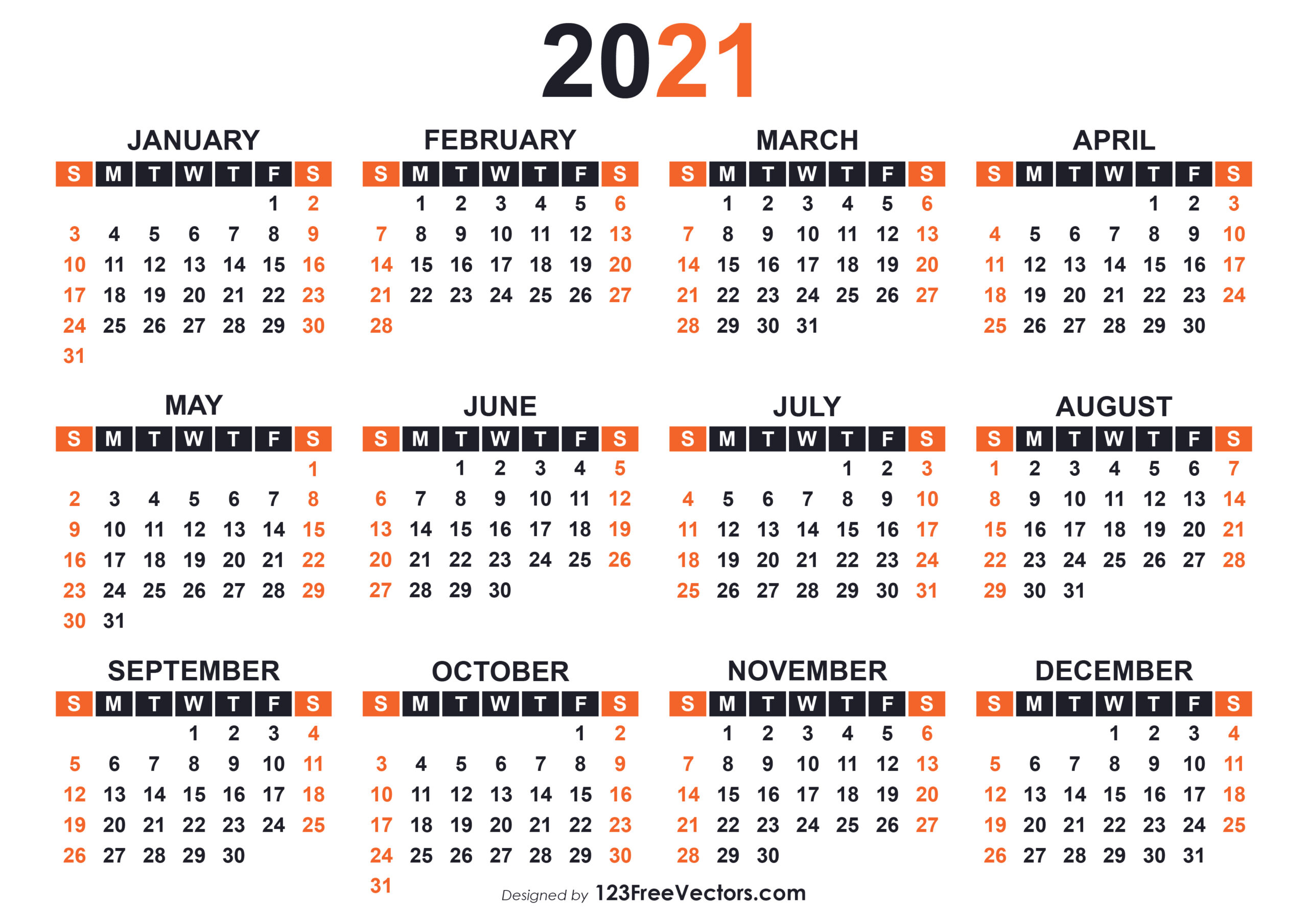 Free 2021 Free Printable Calendar Templates