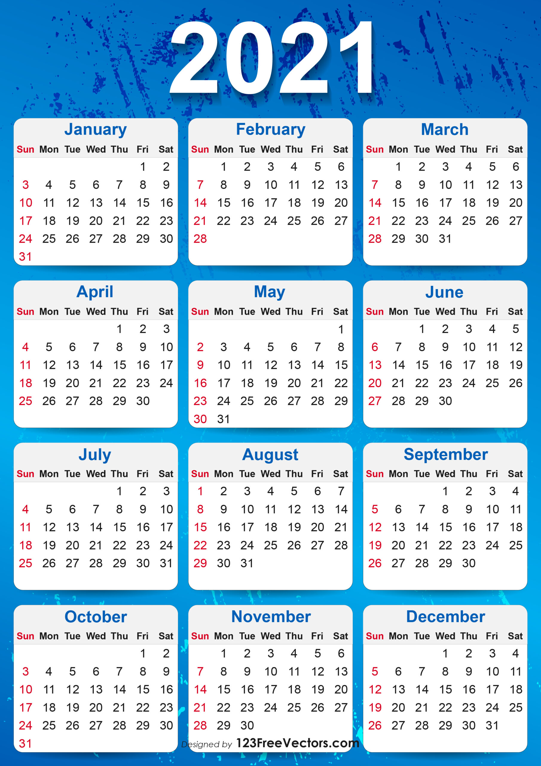 Free 2021 Yearly Calendar Printable