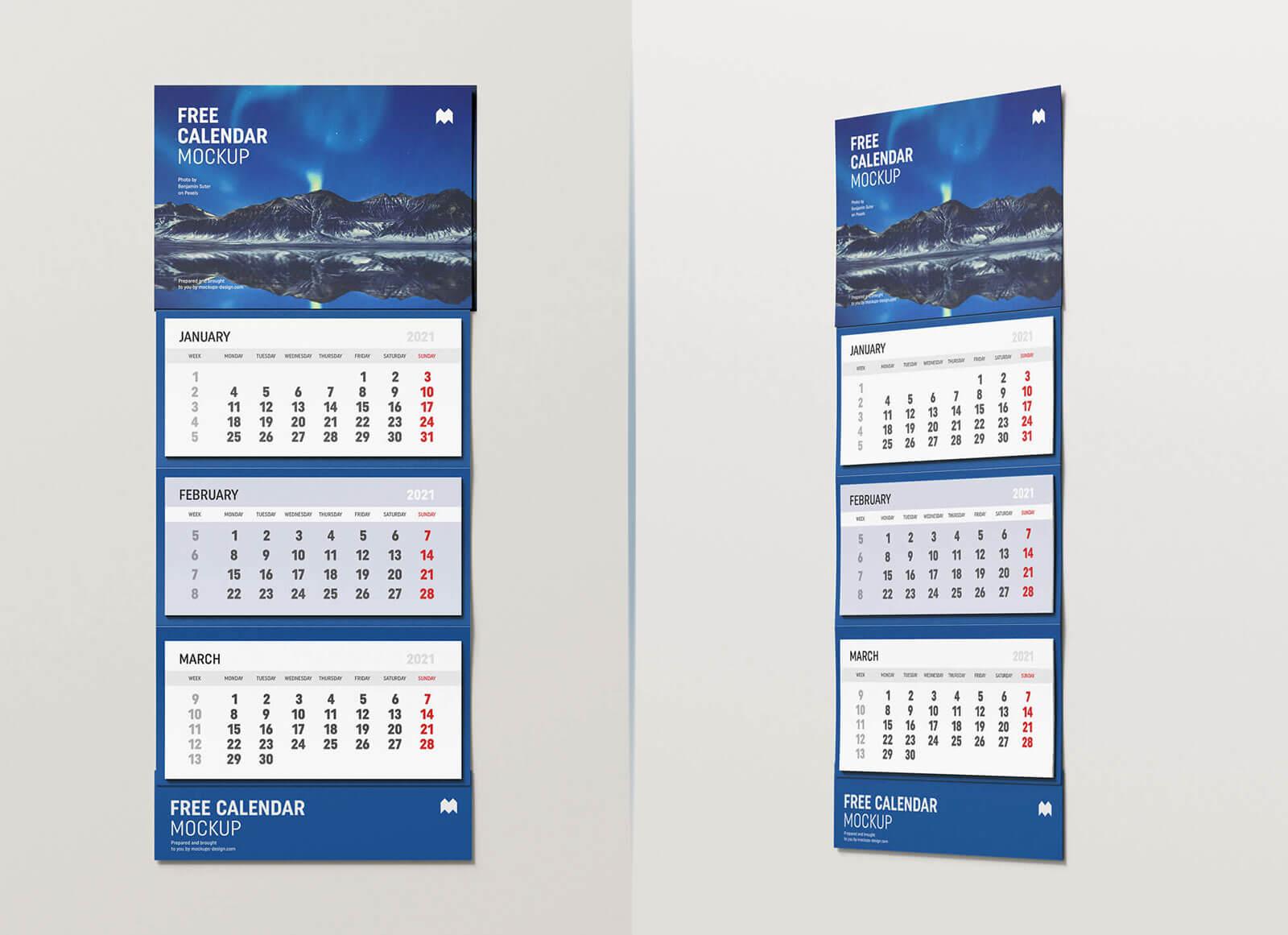 Free 3 Months Vertical Wall Calendar 2021 Mockup Psd Set