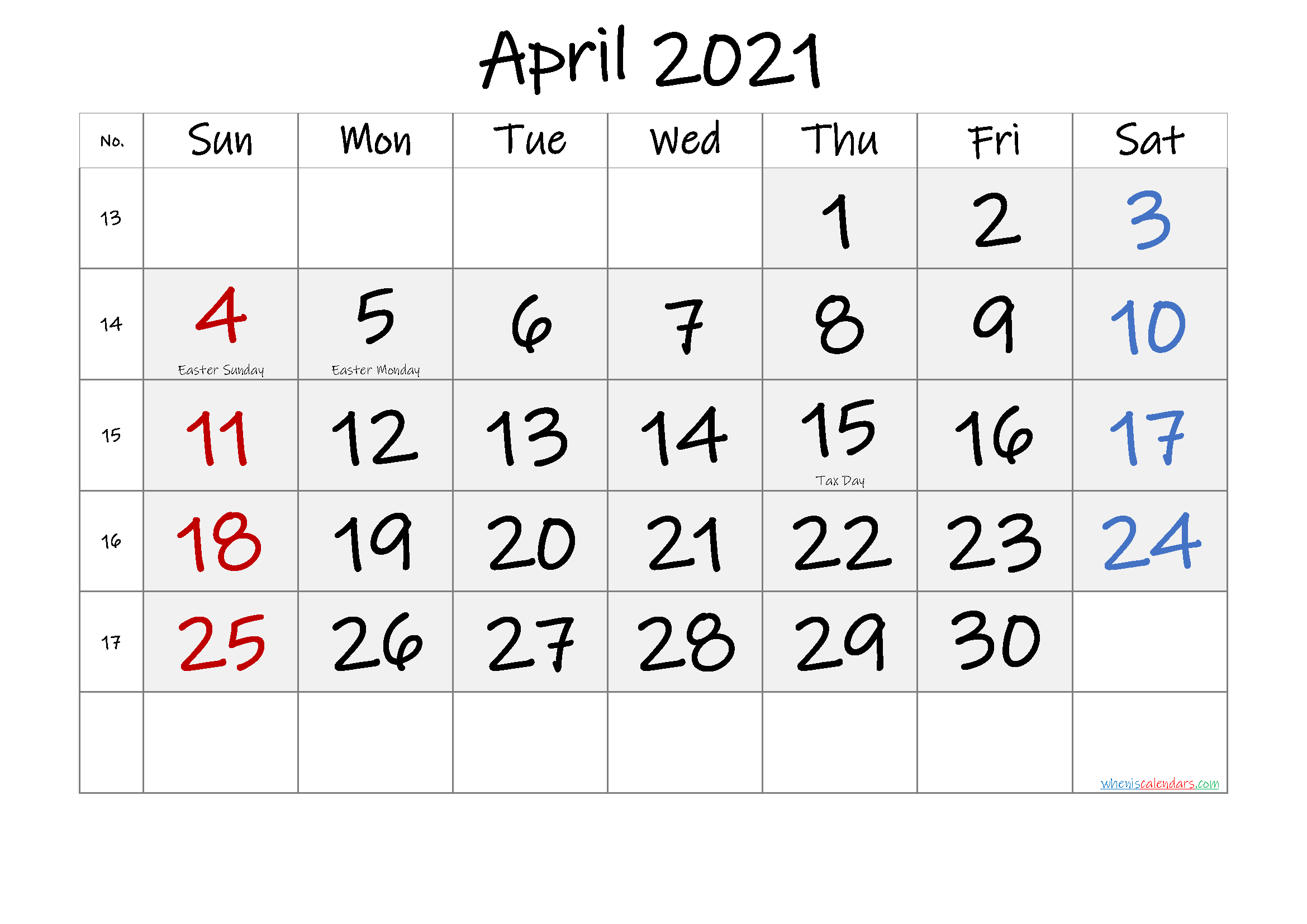 Free April 2021 Monthly Calendar Pdf-Template No.if21M52