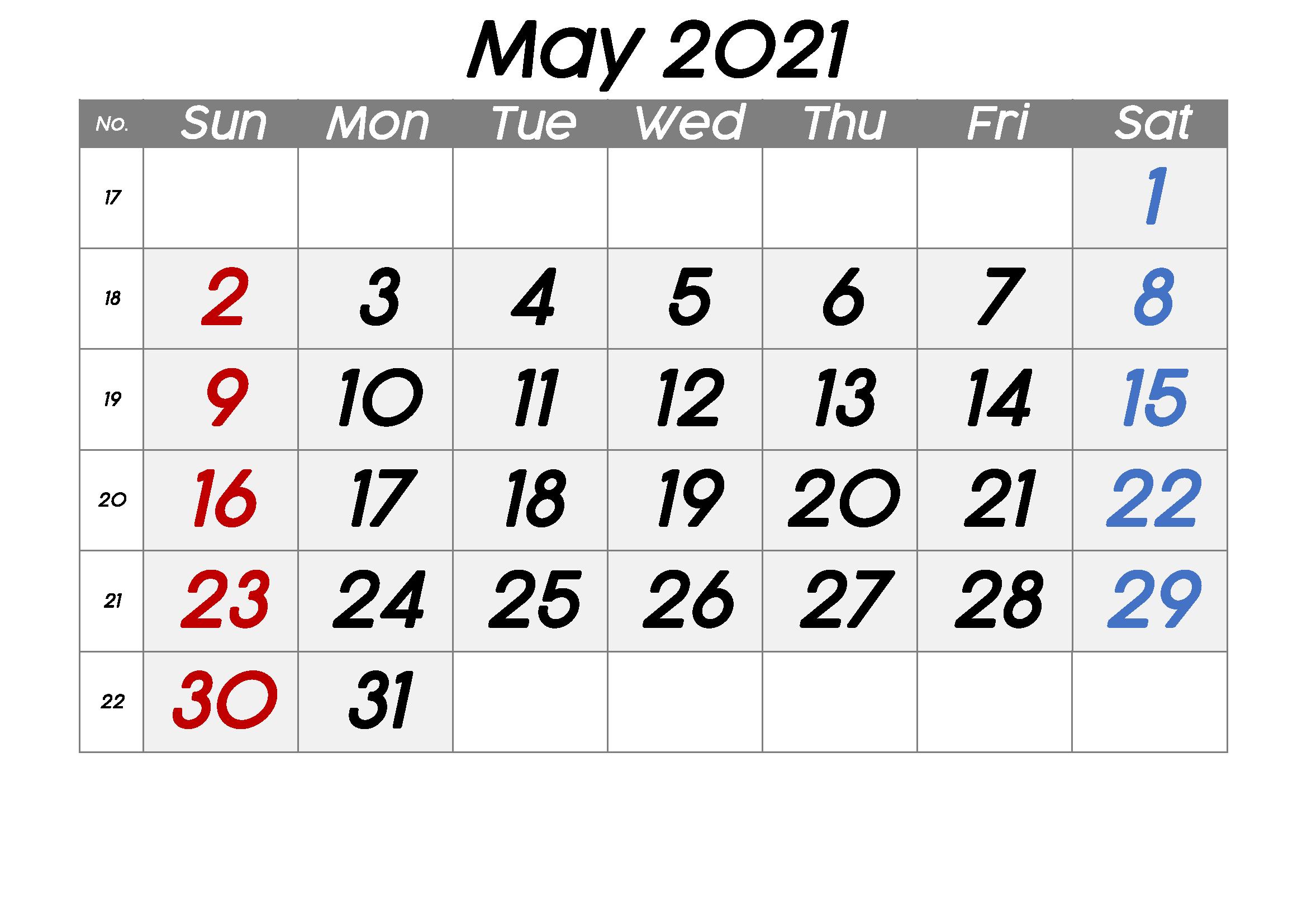 Free Blank May 2021 Printable Calendar Template [Pdf