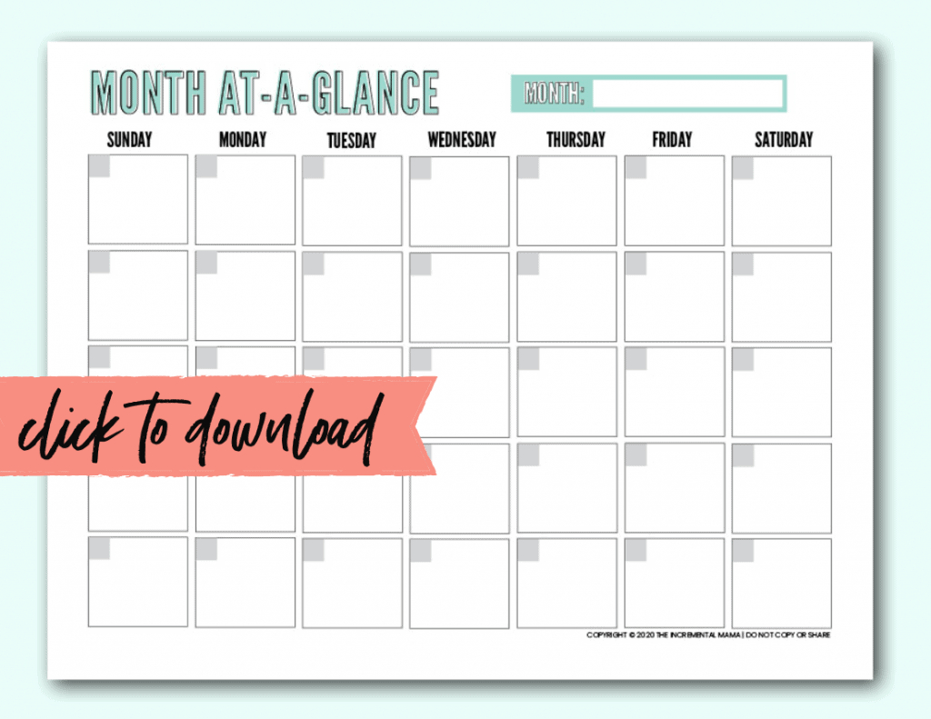 Free Blank Monthly Calendar Template Pdf - The Incremental Mama