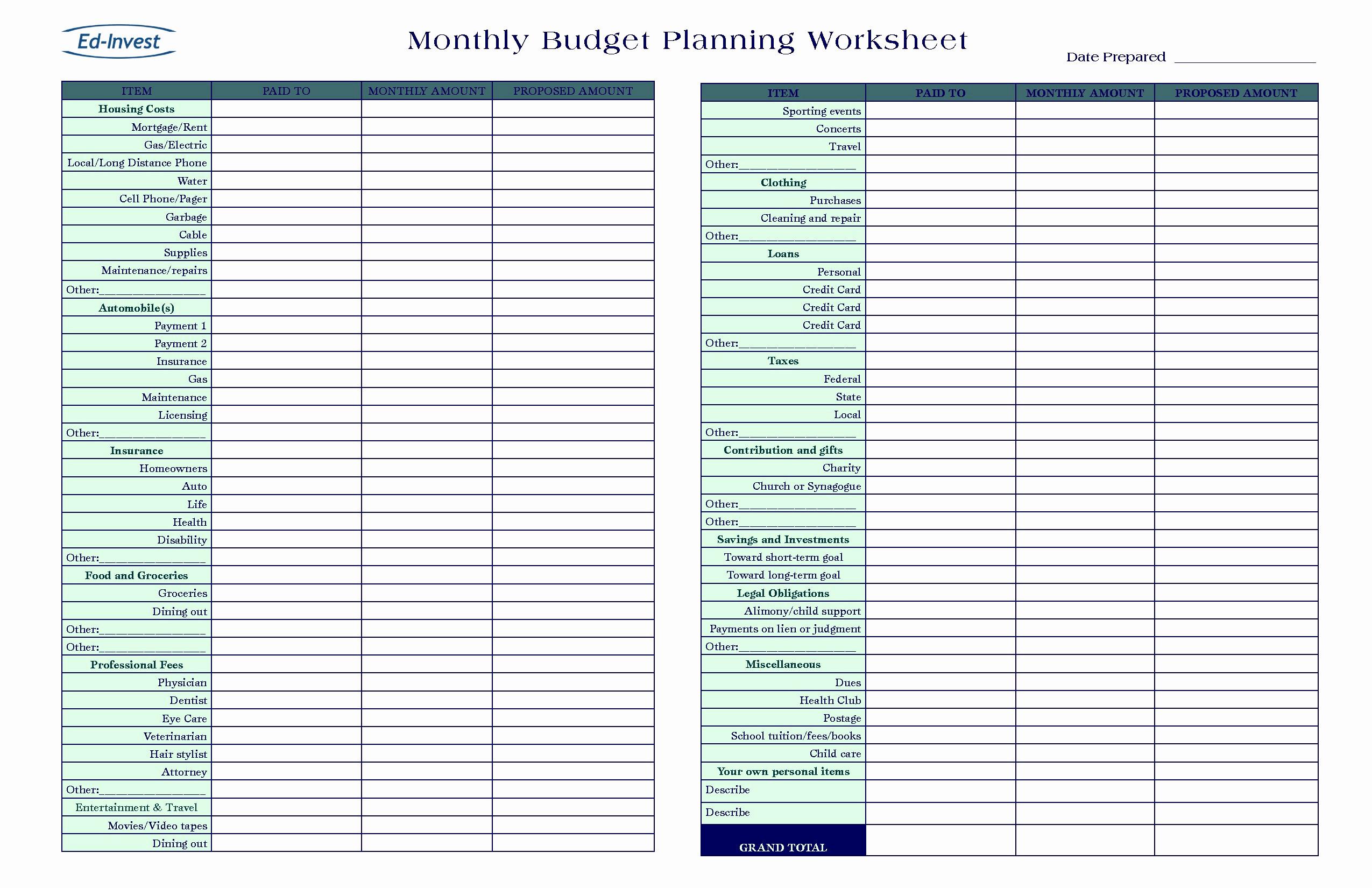 Free Budget Planner Spreadsheet Business Budgetg Worksheet