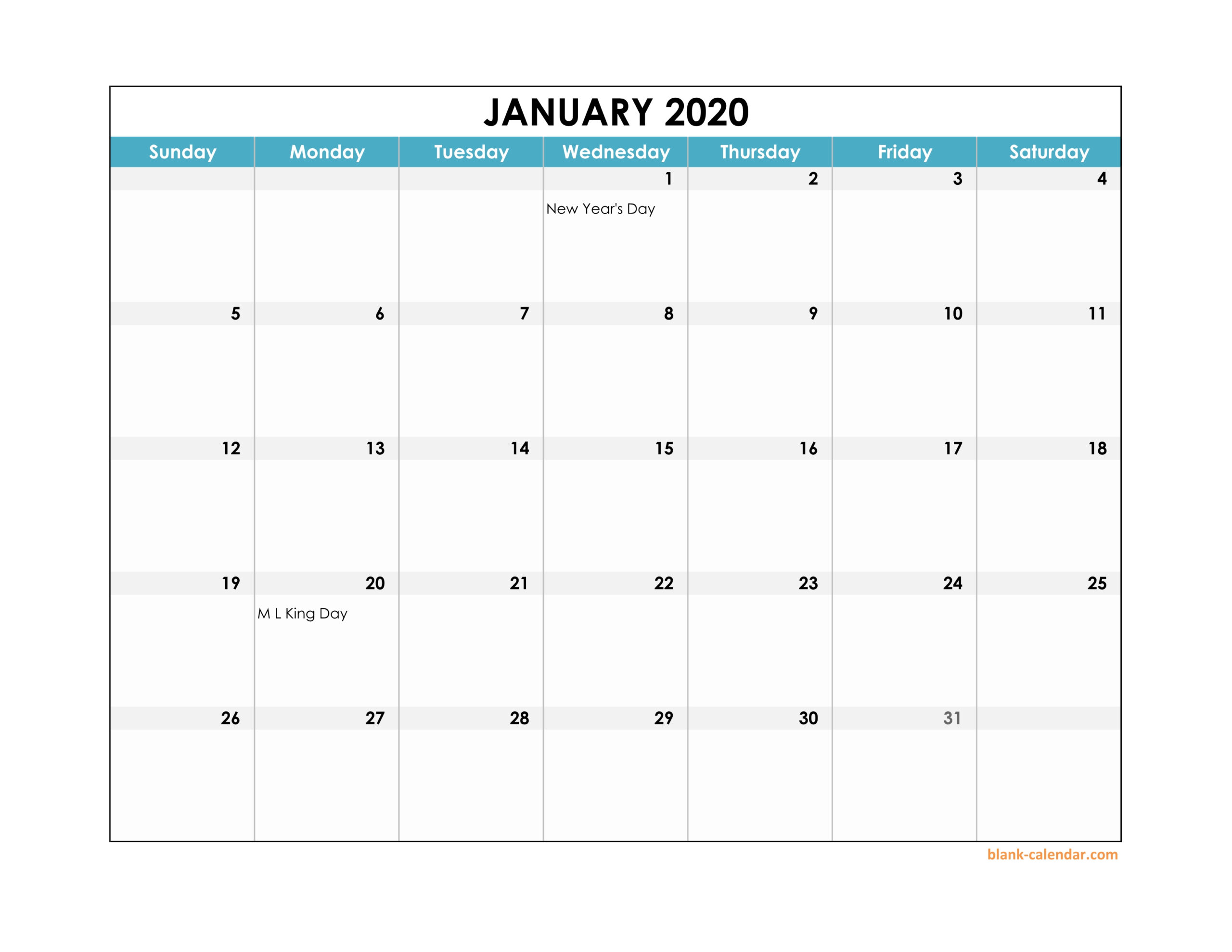 Free Download 2020 Excel Calendar Large Boxes In The Grid