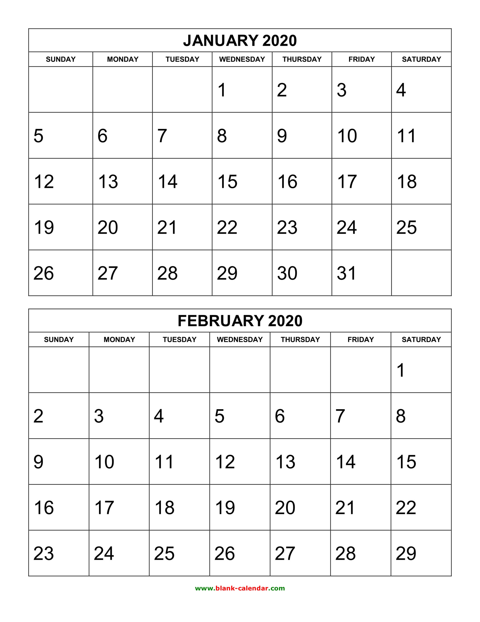 Free Download Printable Calendar 2020, 2 Months Per Page, 6