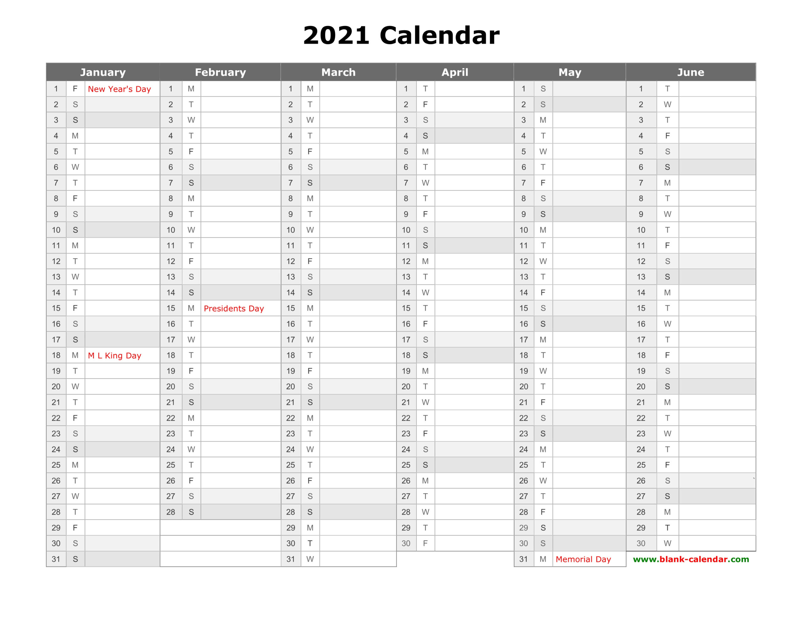 Free Download Printable Calendar 2021, Month In A Column