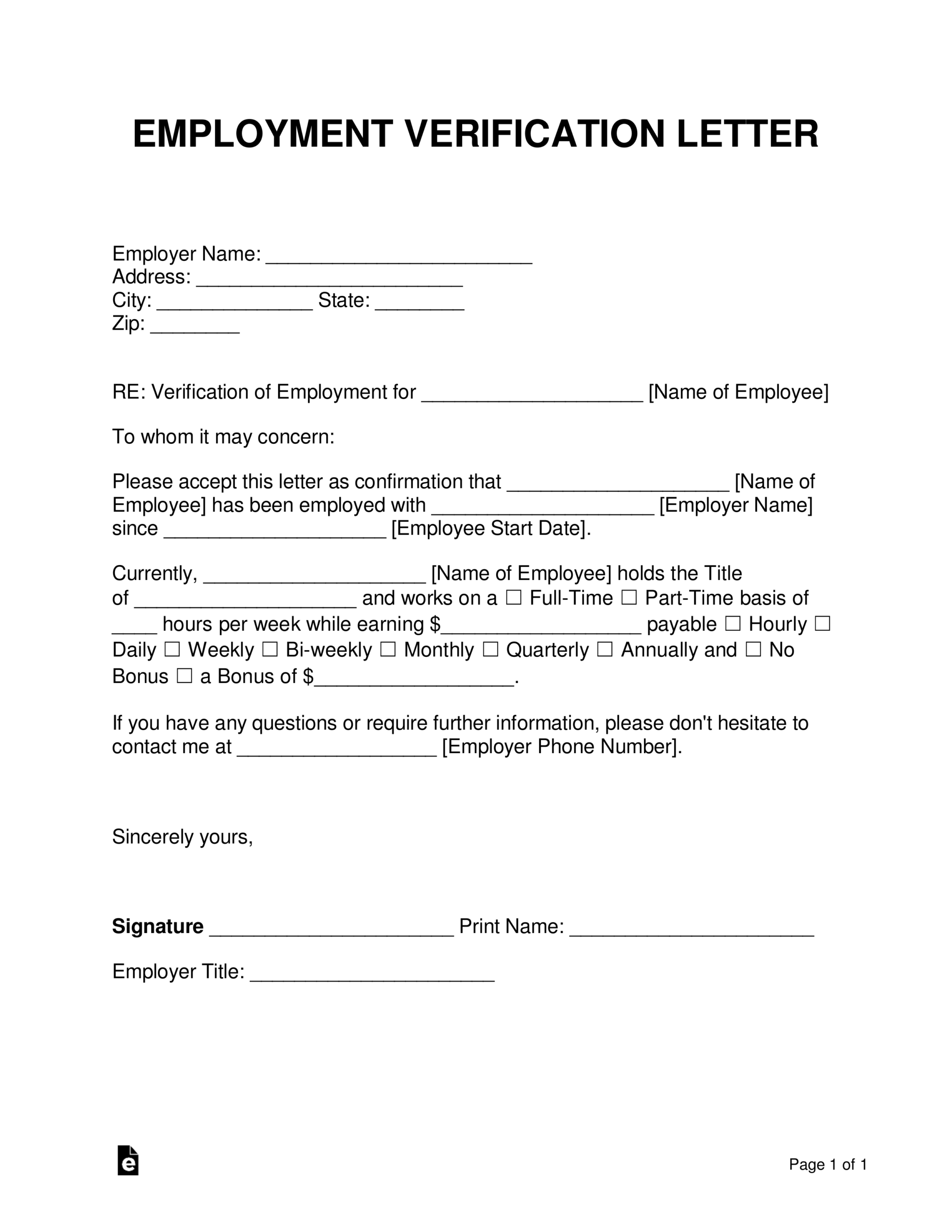 Free Employment (Income) Verification Letter - Pdf   Word