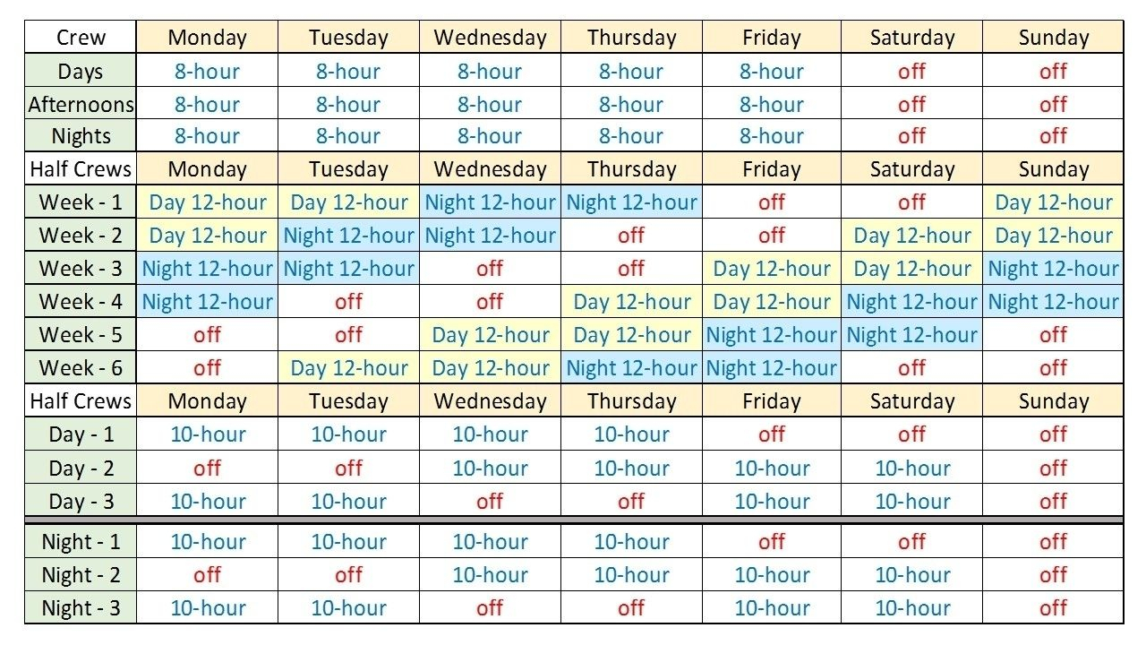 Free Excel 12 Hour Shift Schedule Template | Blank Calendar
