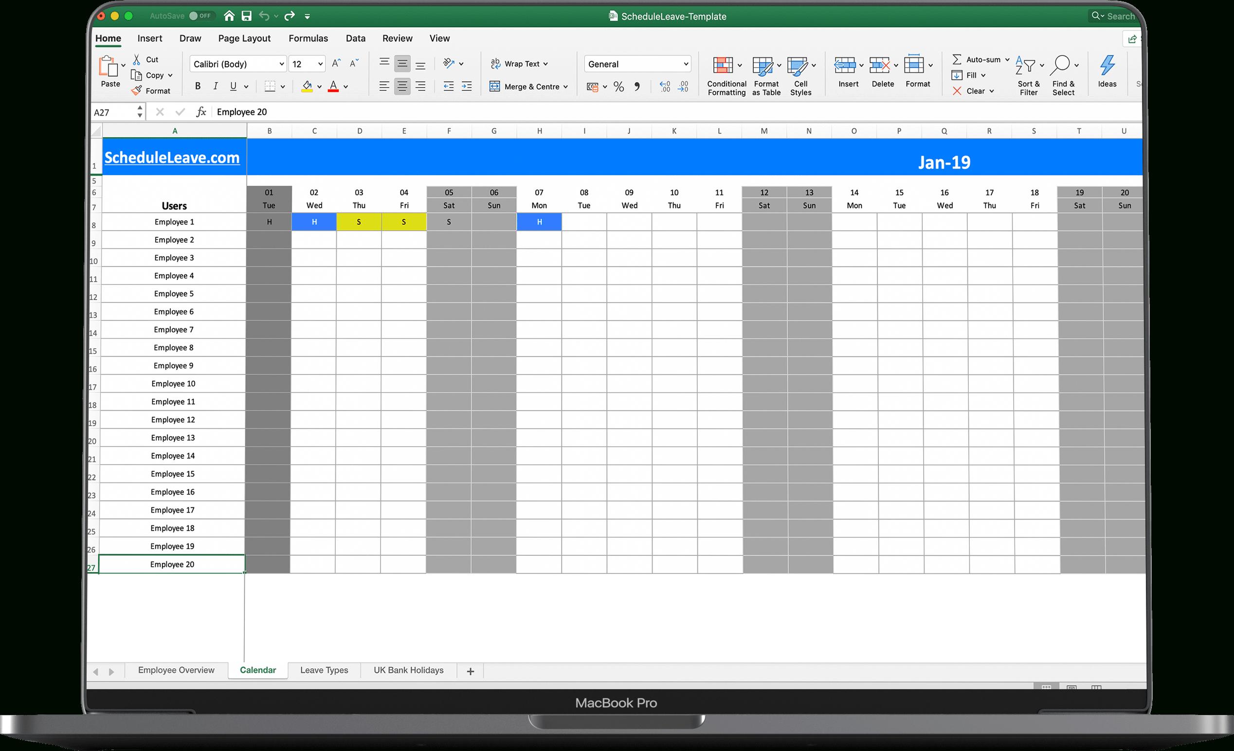 Free Excel Leave Calendar 2021 Spreadsheet Template