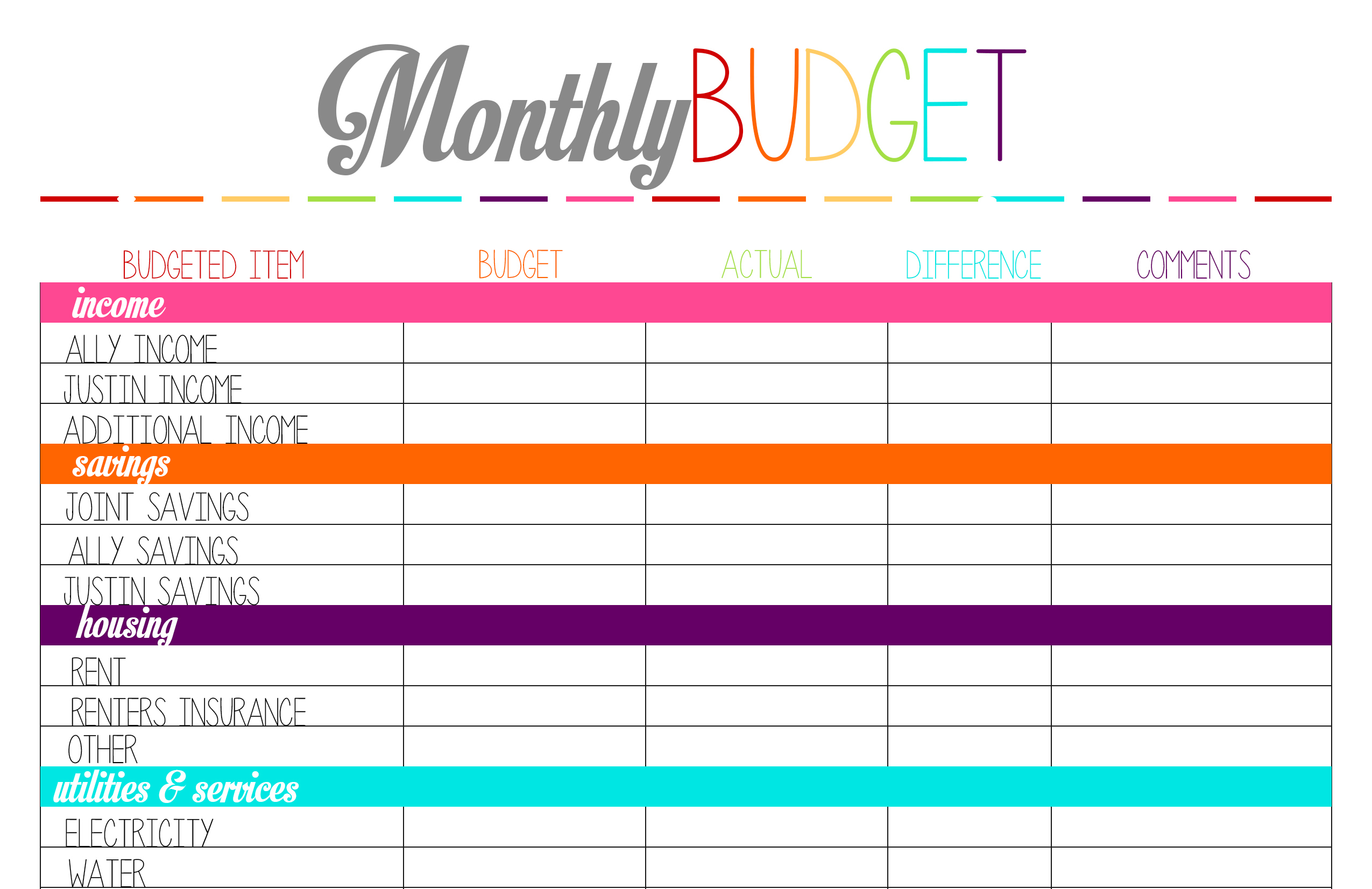 Free Family Budget Worksheets - Cprc