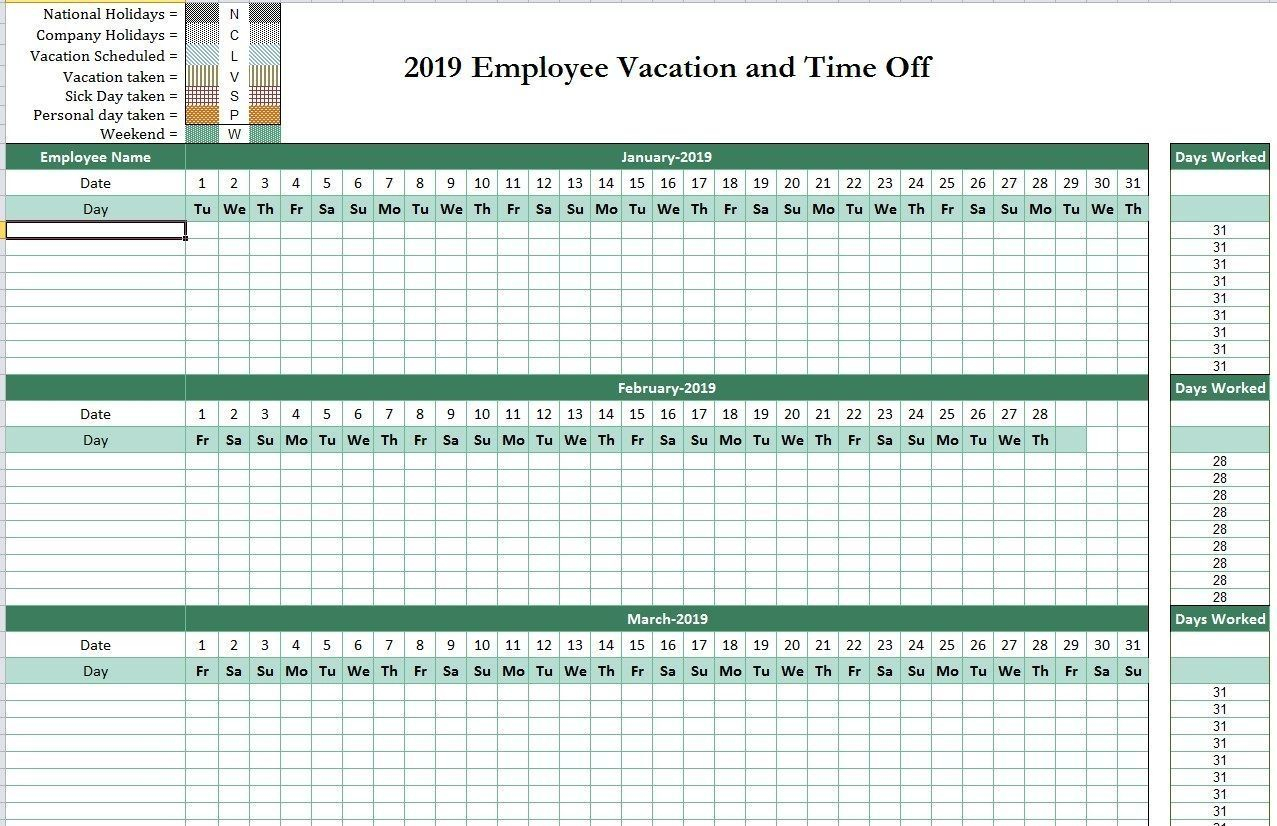 Free Free Template For Employee Time Off Calendar